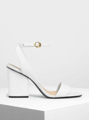 Ankle Strap Block Heel Sandals, White