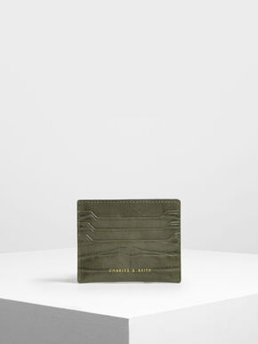 Croc-Effect Card Holder, Olive