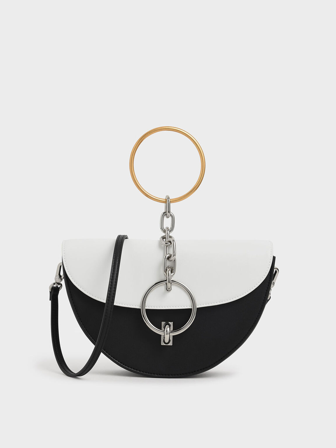 Two-Tone Half-Moon Bracelet Bag, White, hi-res