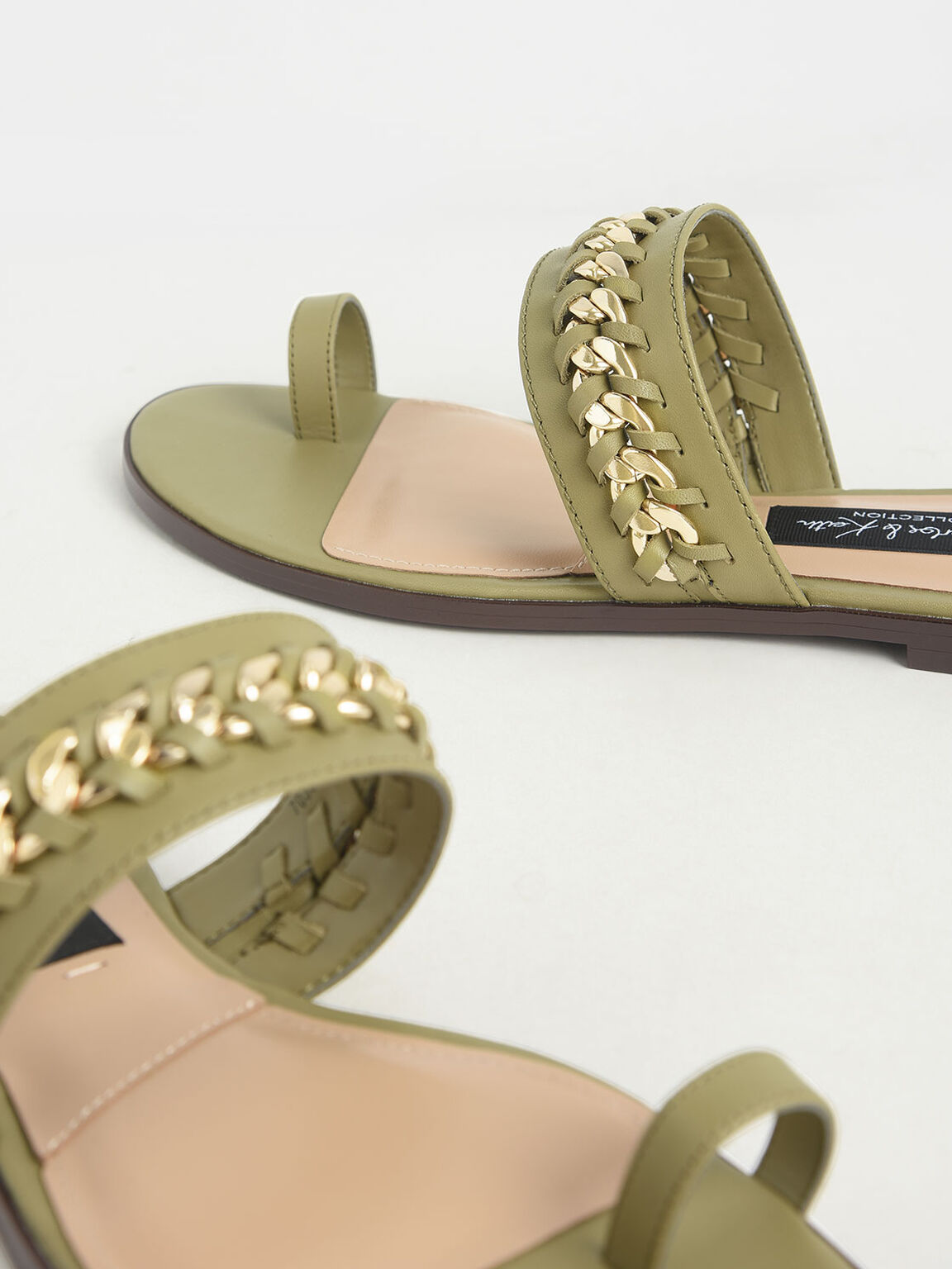 Leather Chain-Link Toe Loop Sandals, Military Green, hi-res