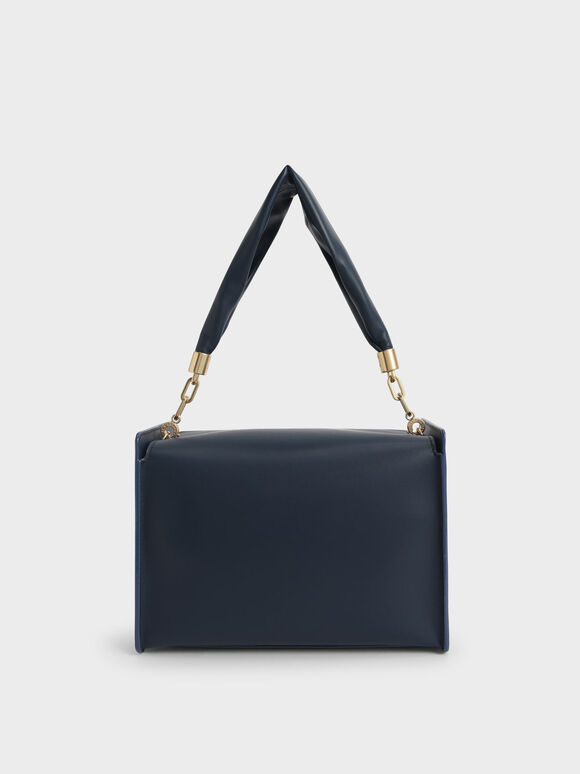 Slouchy Top Handle Bag, Navy, hi-res