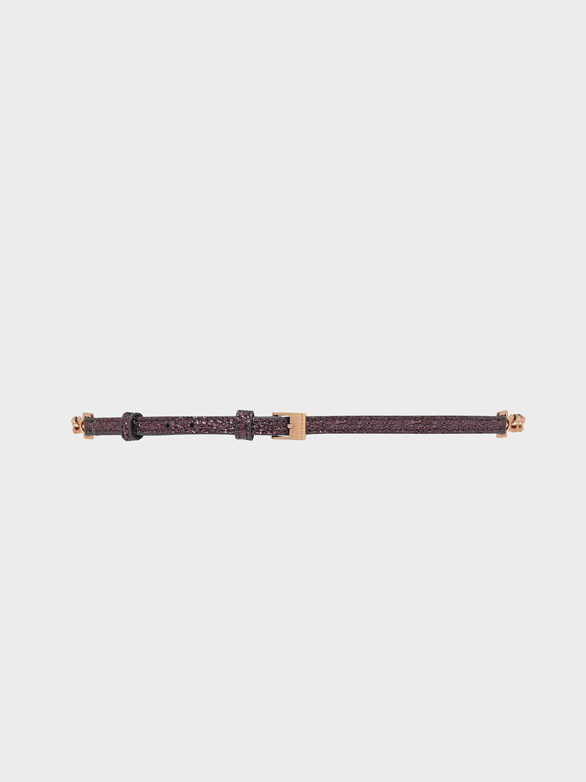 Chain Detail Belt, Prune, hi-res