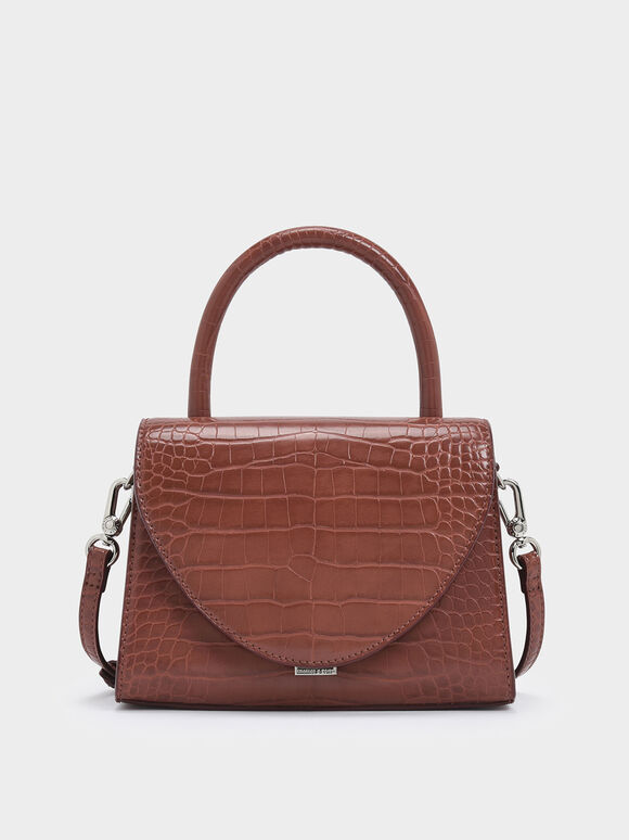 Croc-Effect Structured Top Handle Bag, Burgundy, hi-res