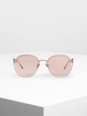 Cut Out Butterfly Sunglasses, Pink