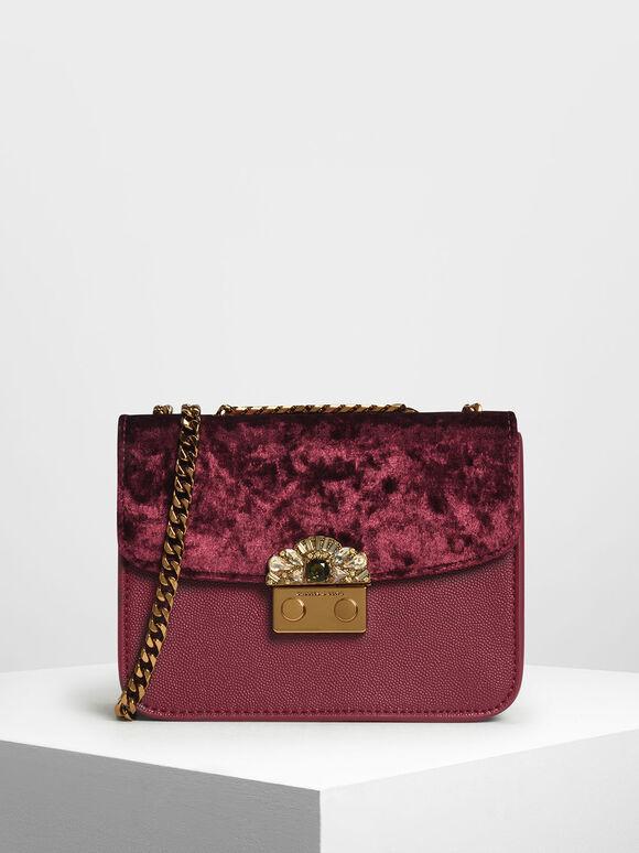 Velvet Push Lock Evening Bag, Prune, hi-res