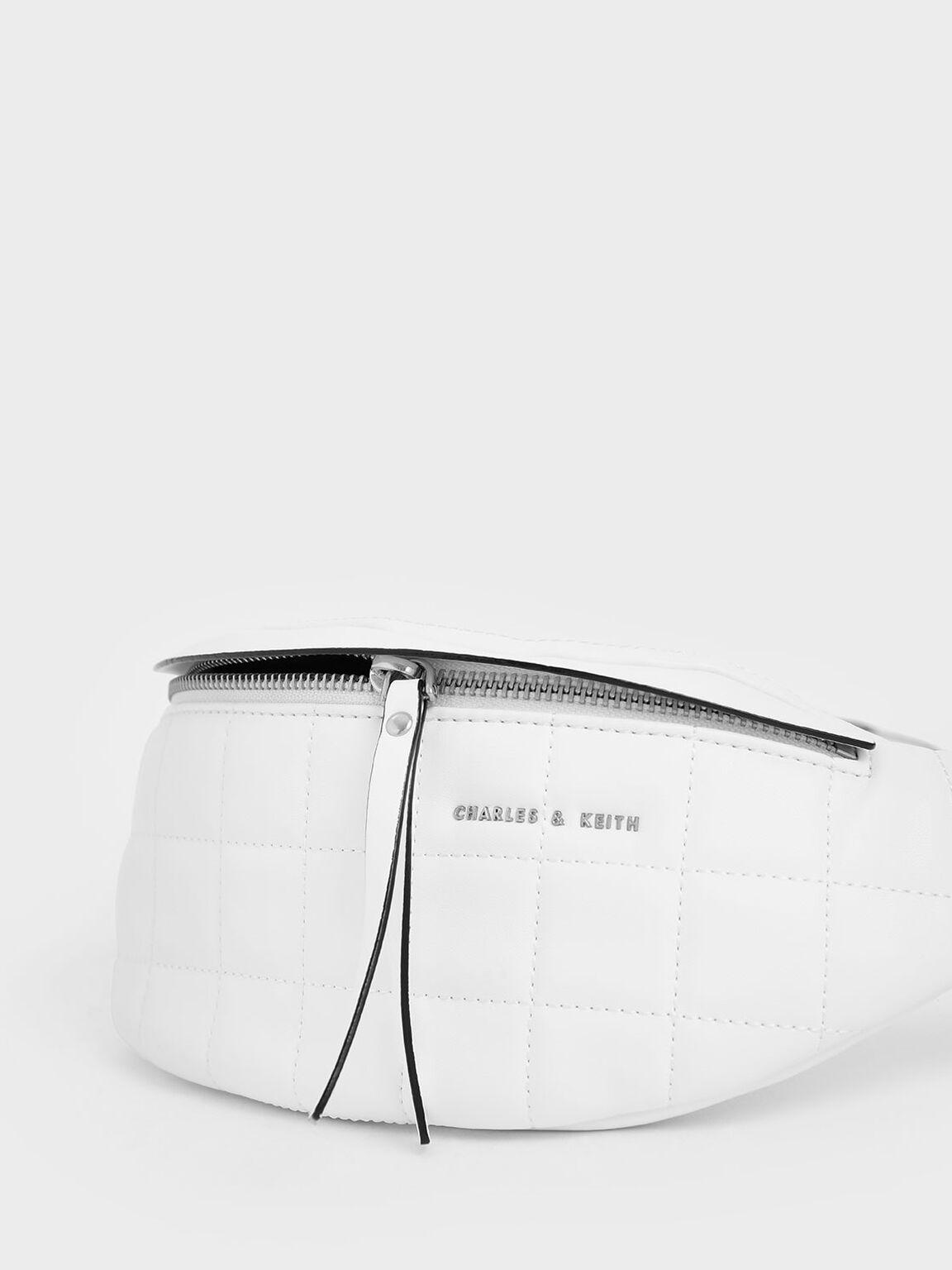 Quilted Belt Bag, White, hi-res
