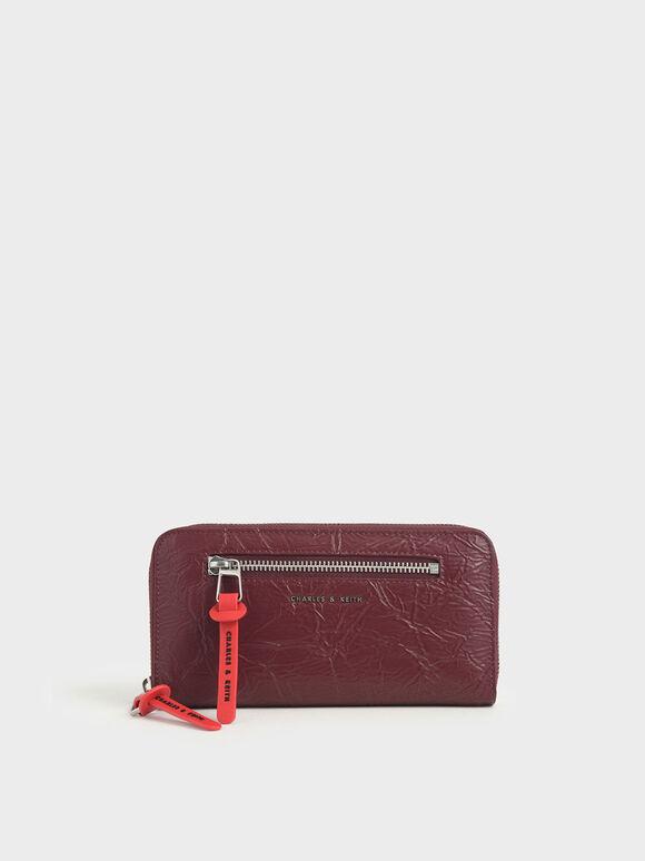 Mini Wrinkled Effect Long Wallet, Burgundy, hi-res