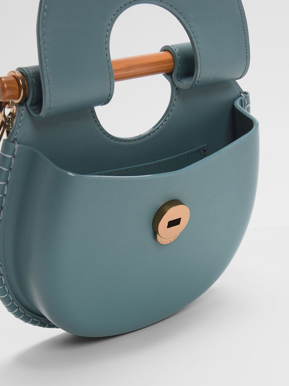 Wood-Effect Handle Whipstitch Trim Bag, Teal, hi-res