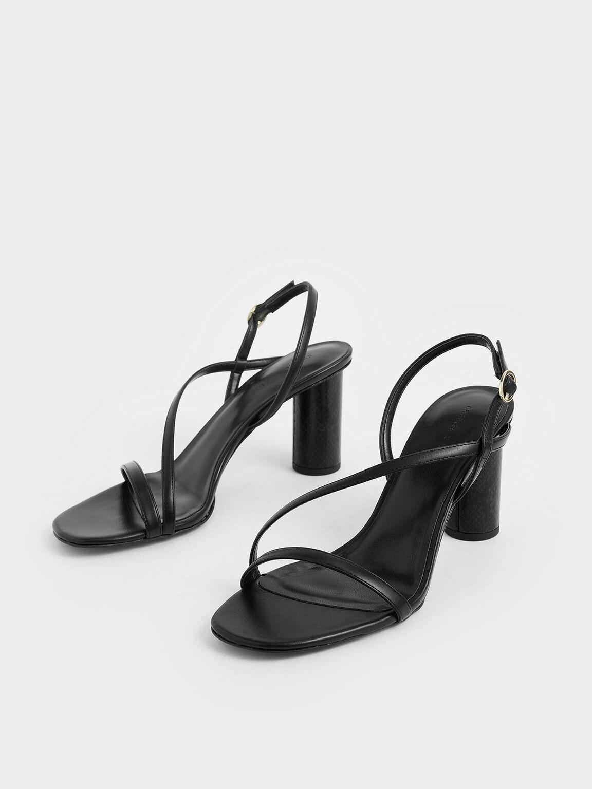 Asymmetric Strap Cylindrical Heel Sandals, Black, hi-res