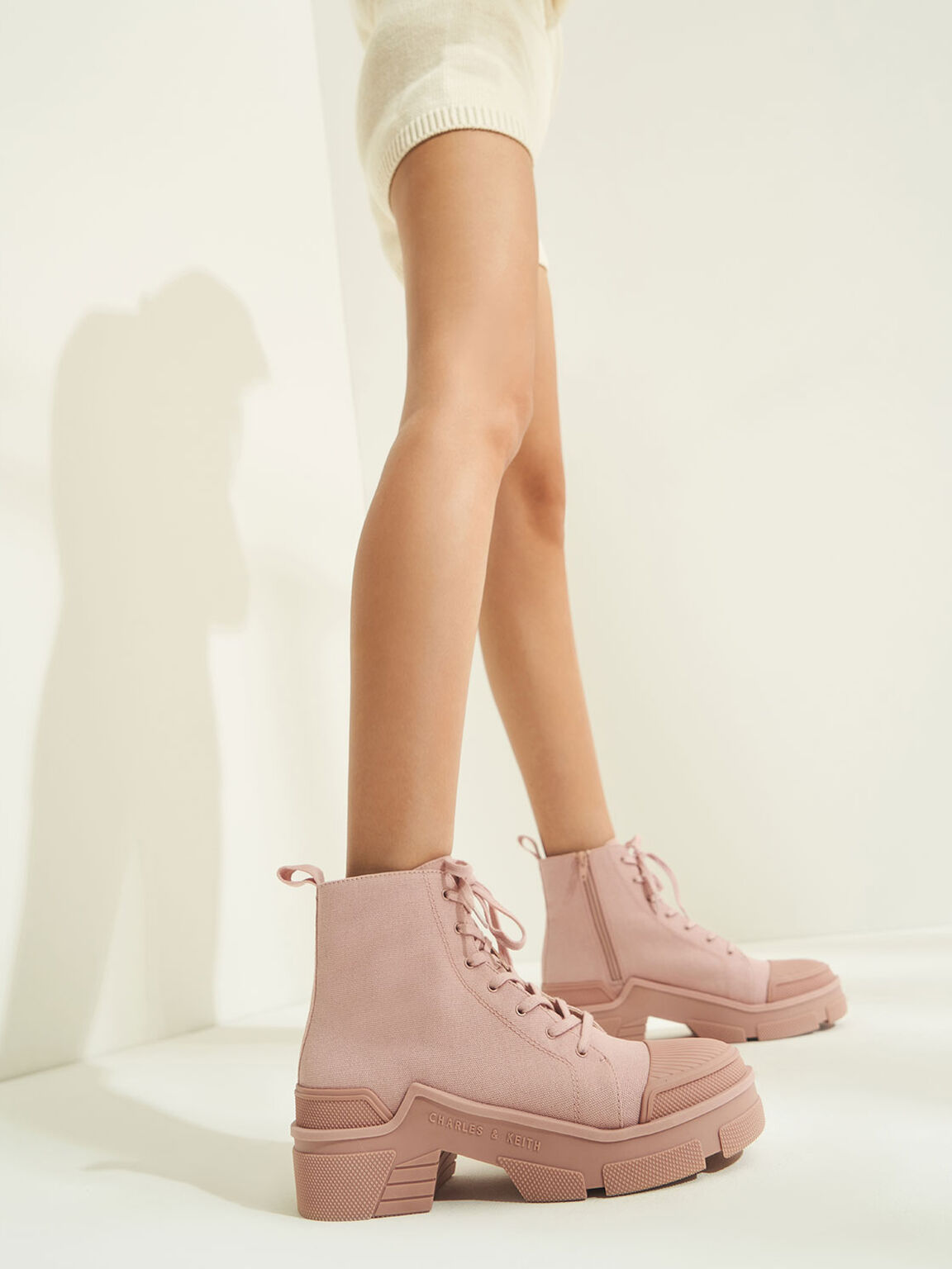 Canvas High Top Sneakers, Light Pink, hi-res