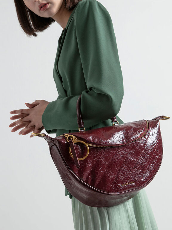 Wrinkled Effect Large Semi-Circle Crossbody Bag, Burgundy