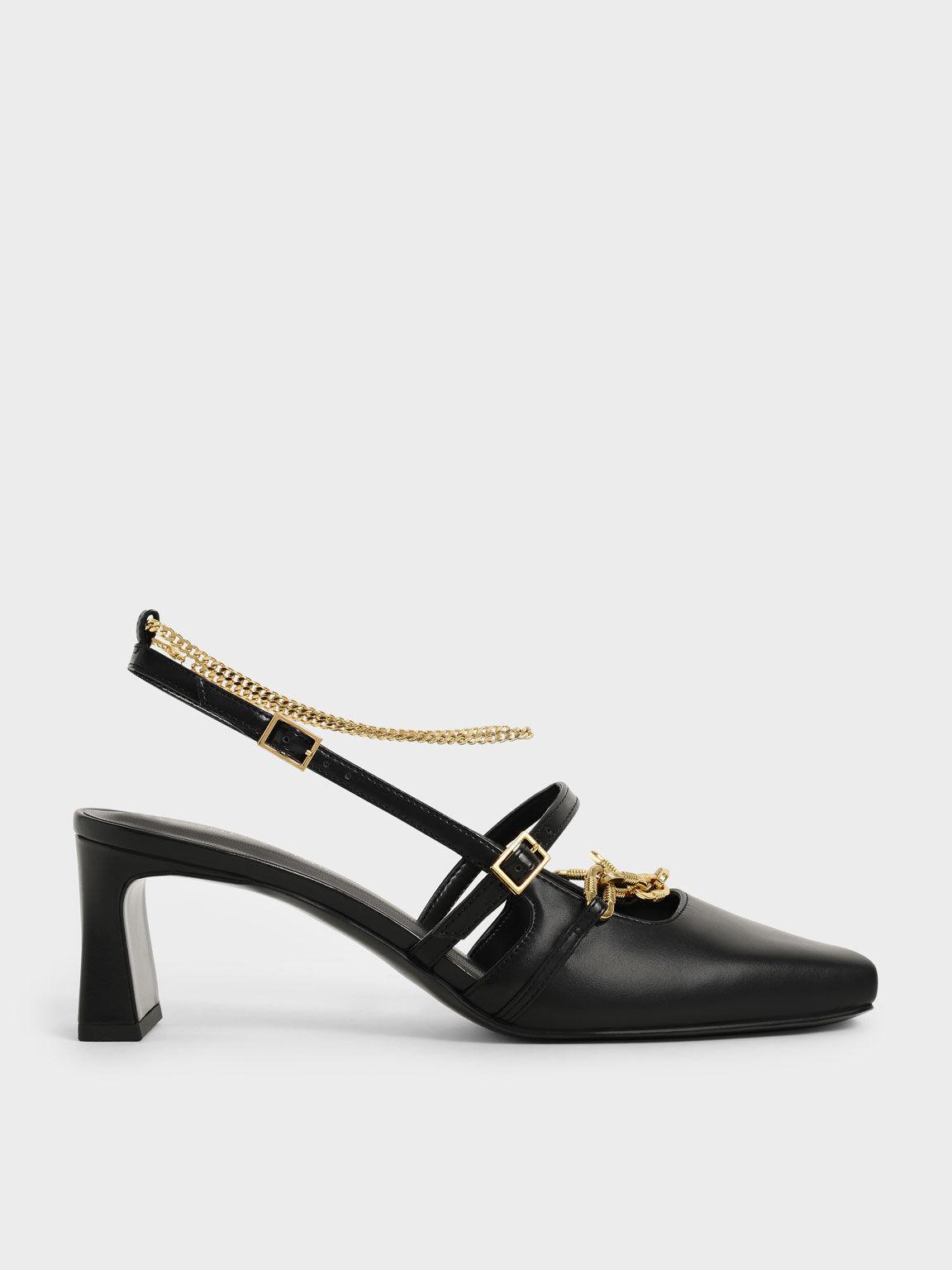 個性粗鍊方頭跟鞋, 黑色, hi-res