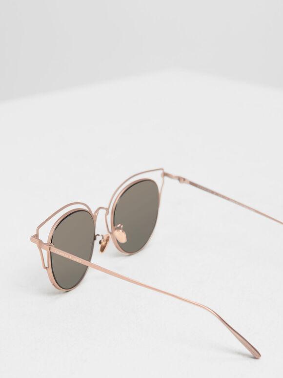 더블 프레임 윙팁 선글라스, 핑크, hi-res