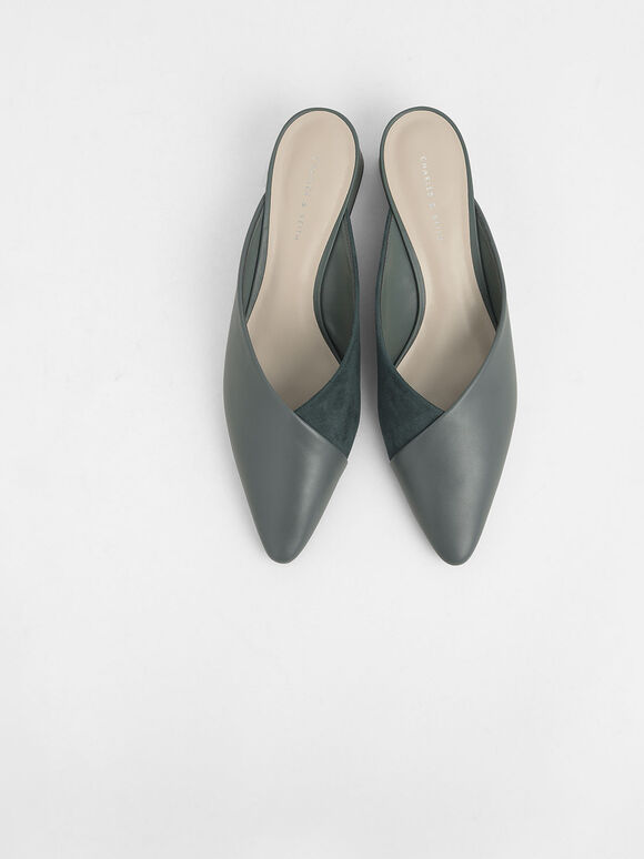 Textured Pointed Toe Wedge Heel Mules, Green, hi-res