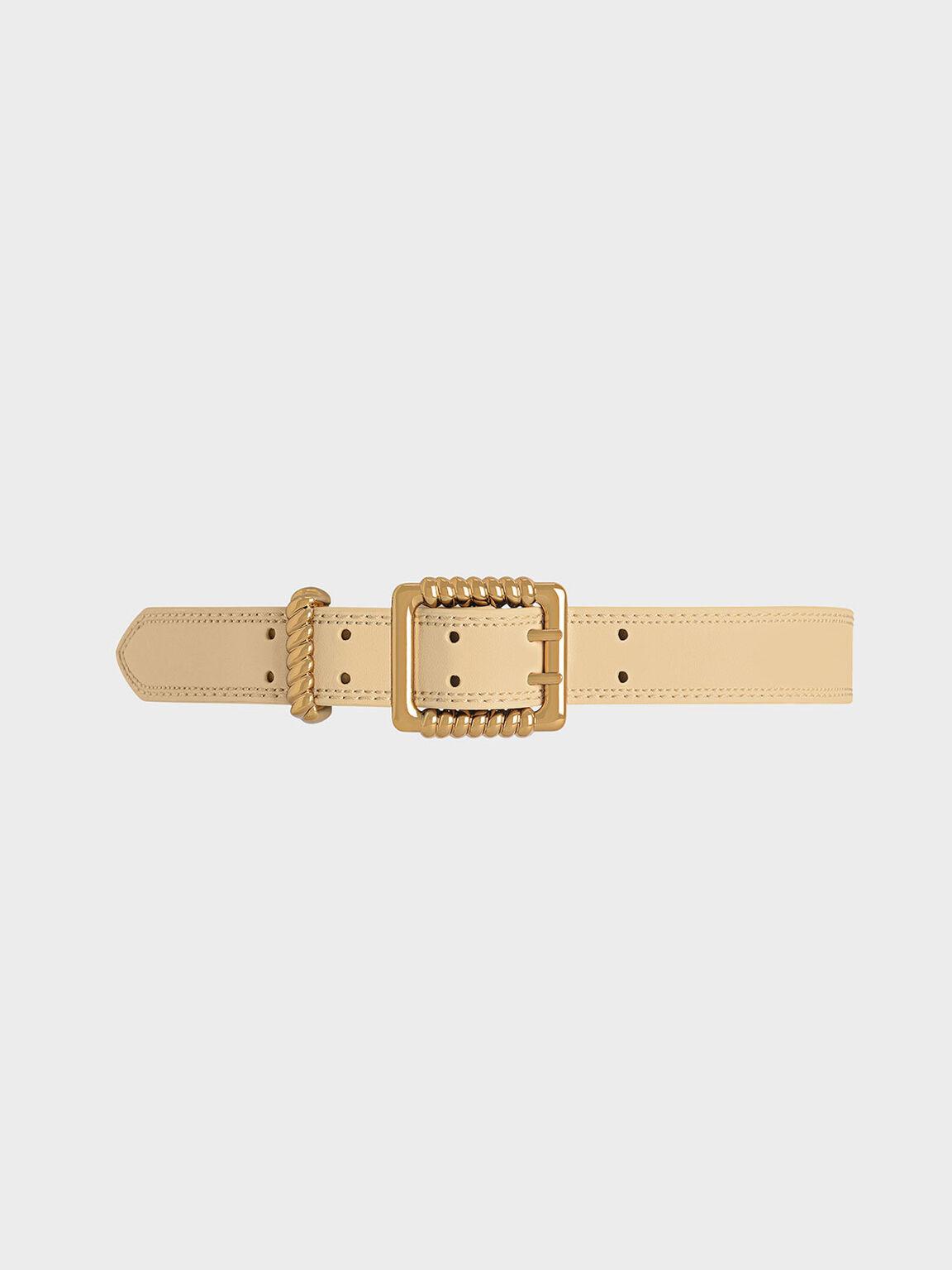 Textured Buckle Belt, Yellow, hi-res