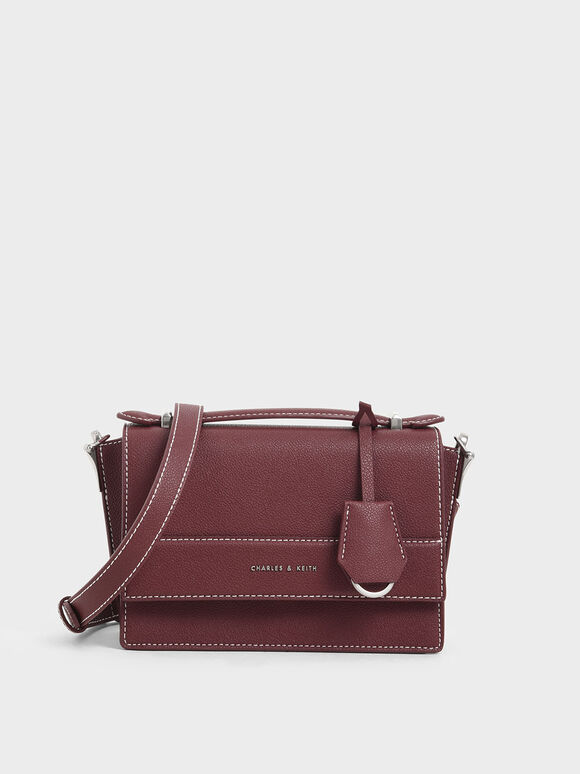 Front Flap Top Handle Bag, Burgundy, hi-res