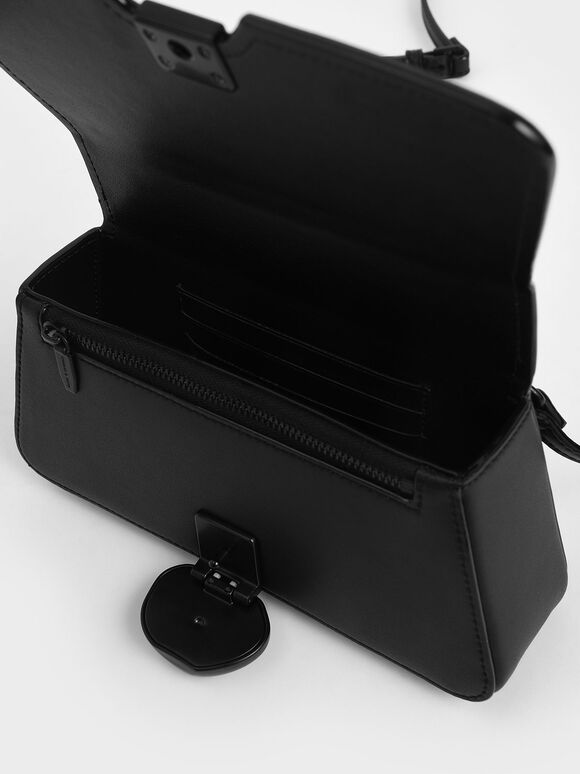 Chain Top Handle Bag, Ultra-Matte Black, hi-res