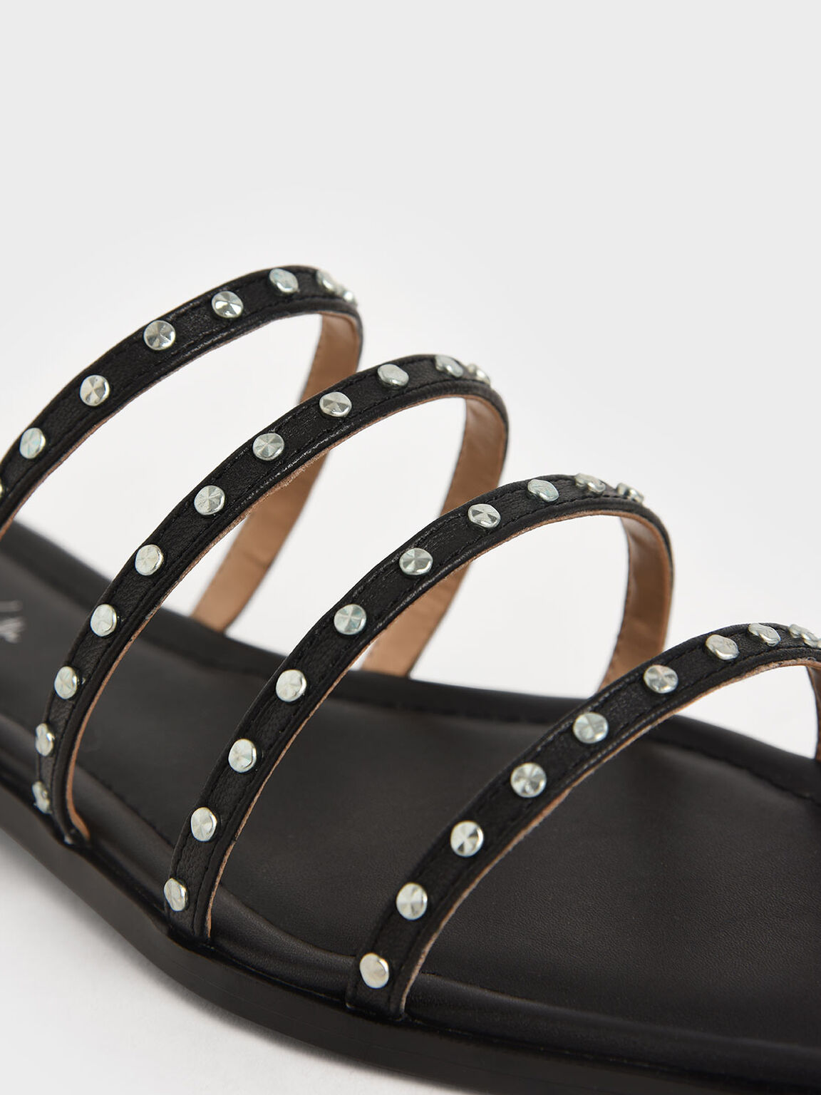 Studded Leather Flat Sandals, Black, hi-res