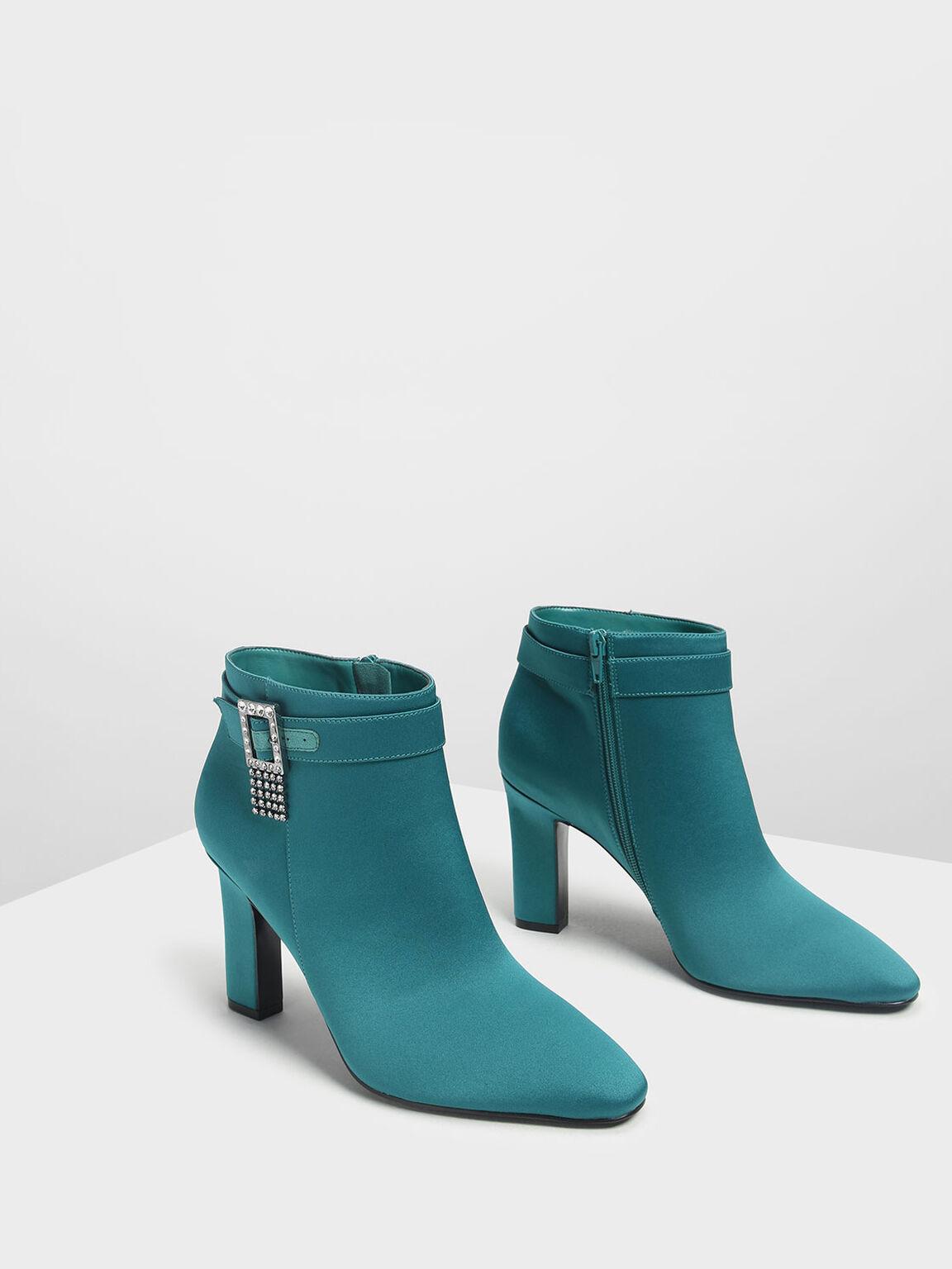 Embellished Buckle Ankle Boots, Green, hi-res