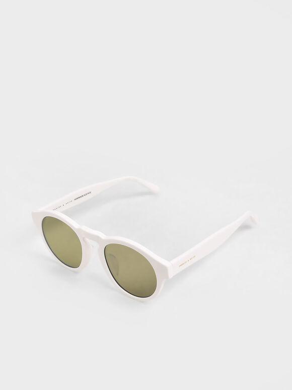 圓形膠框墨鏡, 白色, hi-res