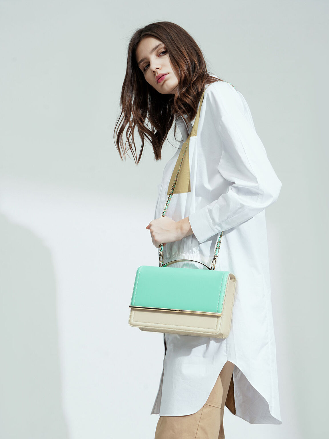 Two-Tone Clutch, Teal, hi-res