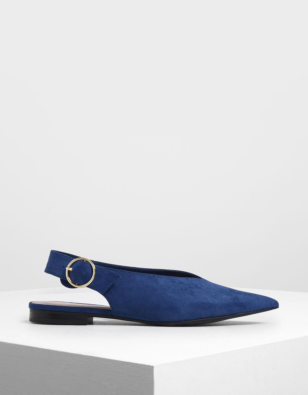 Dark Blue V-Cut Slingback Flats
