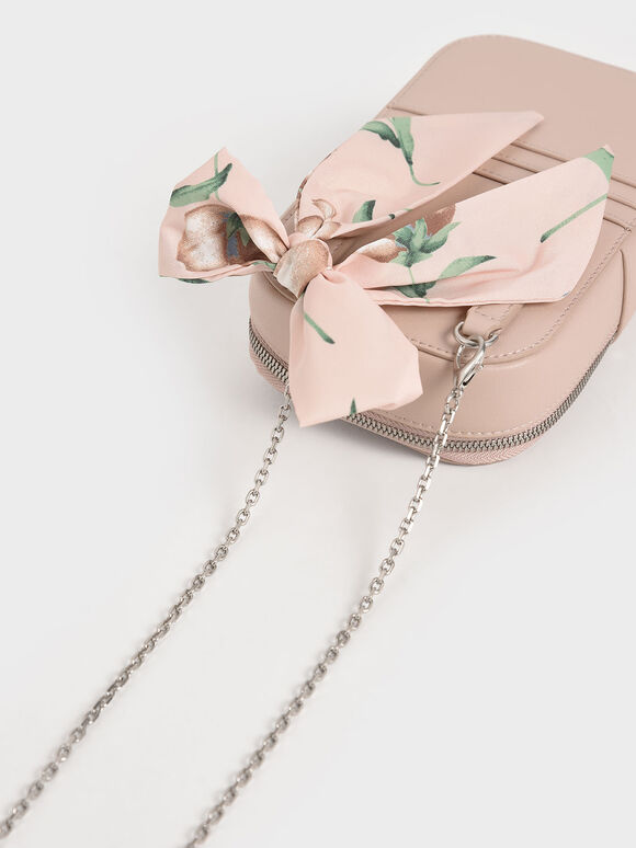 Chiffon Scarf Structured Pouch, Pink, hi-res