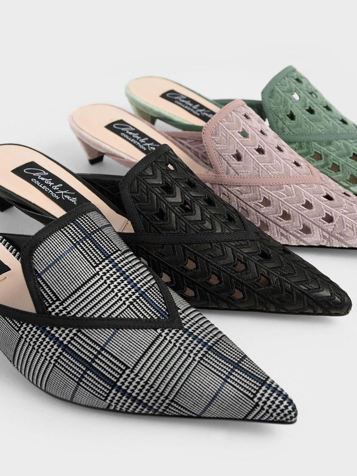 真皮鏤空低跟鞋, 黑色, hi-res
