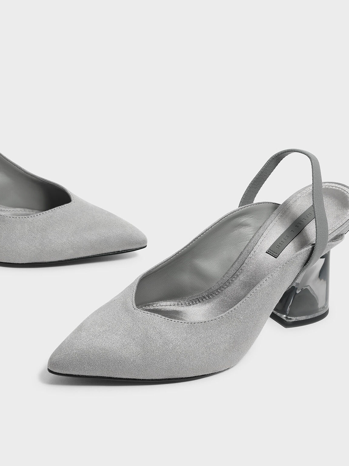 Lucite Sculptural Heel Slingbacks, Grey, hi-res