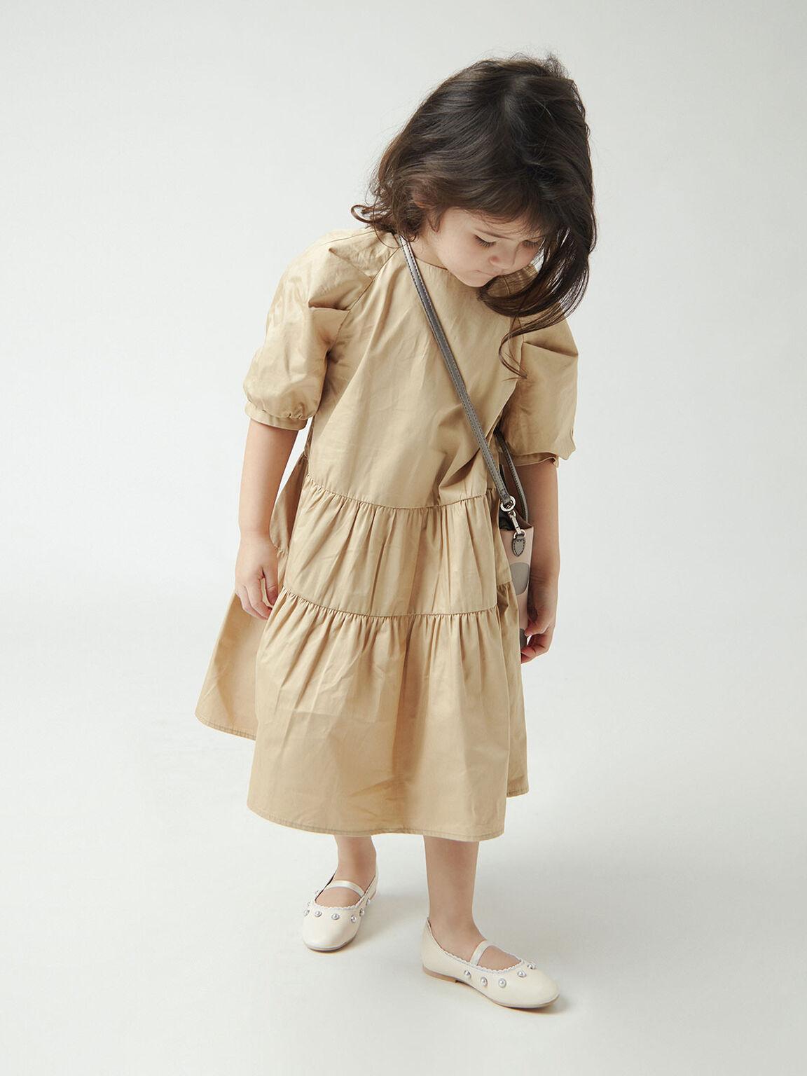 Girls' Studded Mary Jane Flats, Chalk, hi-res