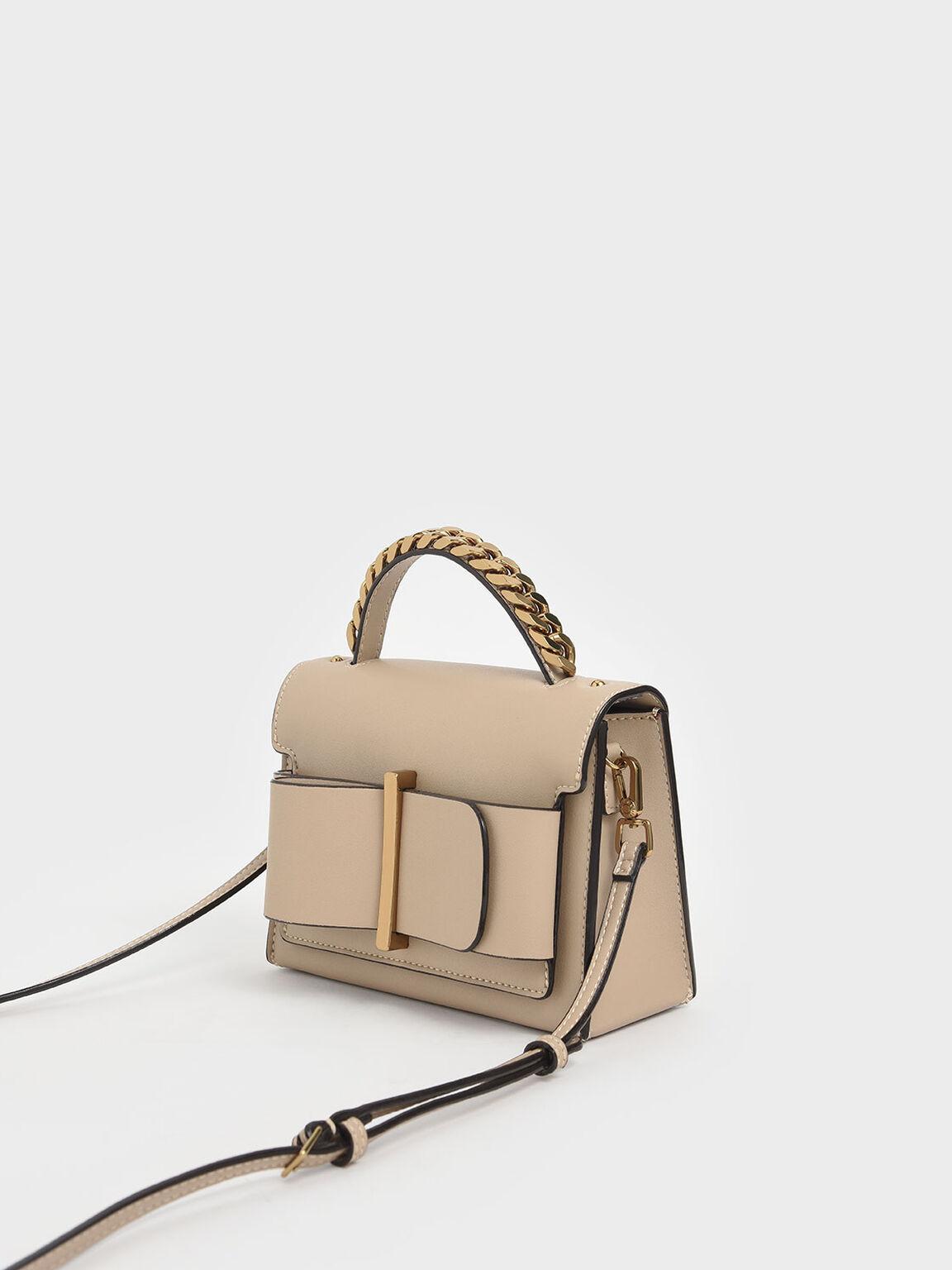Chunky Metal Top Handle Bow Flap Bag, Beige, hi-res