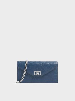 Wrinkled Effect Long Envelope Wallet, Blue
