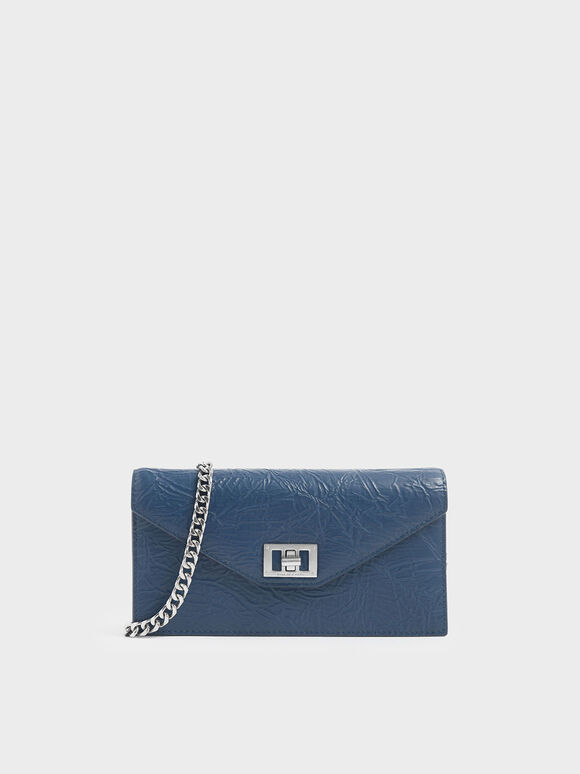 Wrinkled Effect Long Envelope Wallet, Blue, hi-res