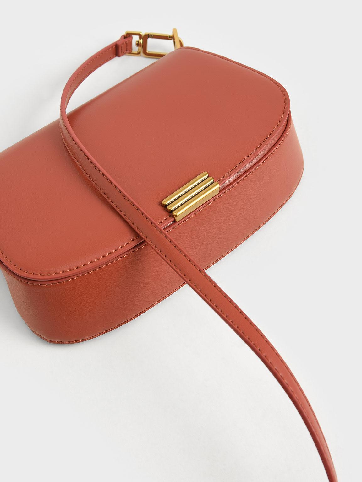 Metallic Accent Small Shoulder Bag, Brick, hi-res