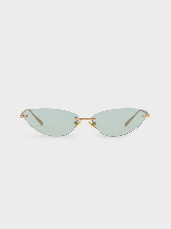 Rimless Cat-Eye Sunglasses, Green, hi-res