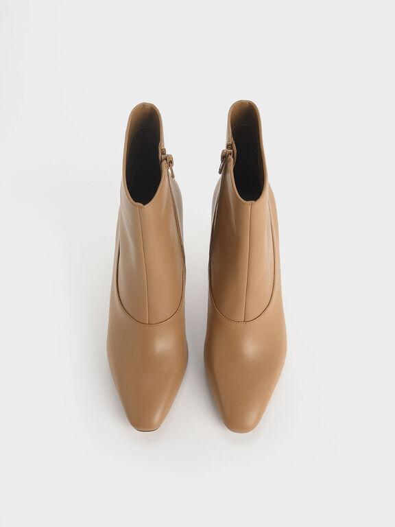 Croc-Effect Sculptural Heel Ankle Boots, Beige, hi-res