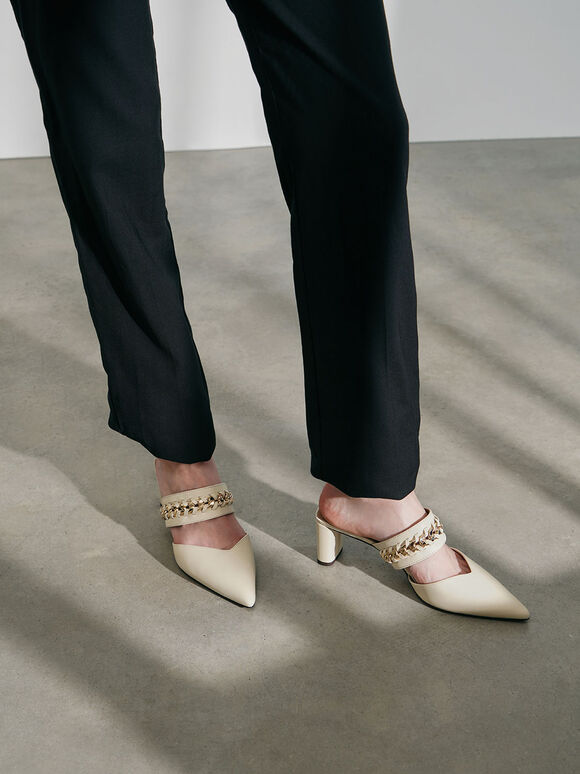 Leather Chain-Link Mules, Chalk, hi-res