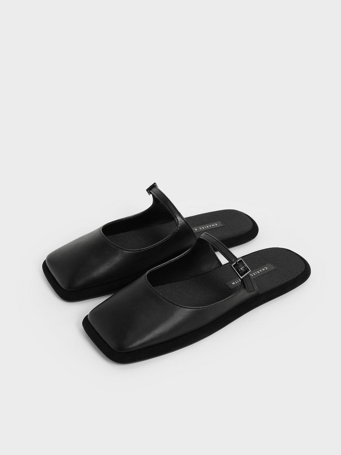 Square Toe Flat Mules, Black, hi-res