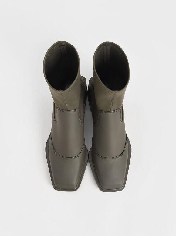 Block Heel Sock Boots, Military Green, hi-res