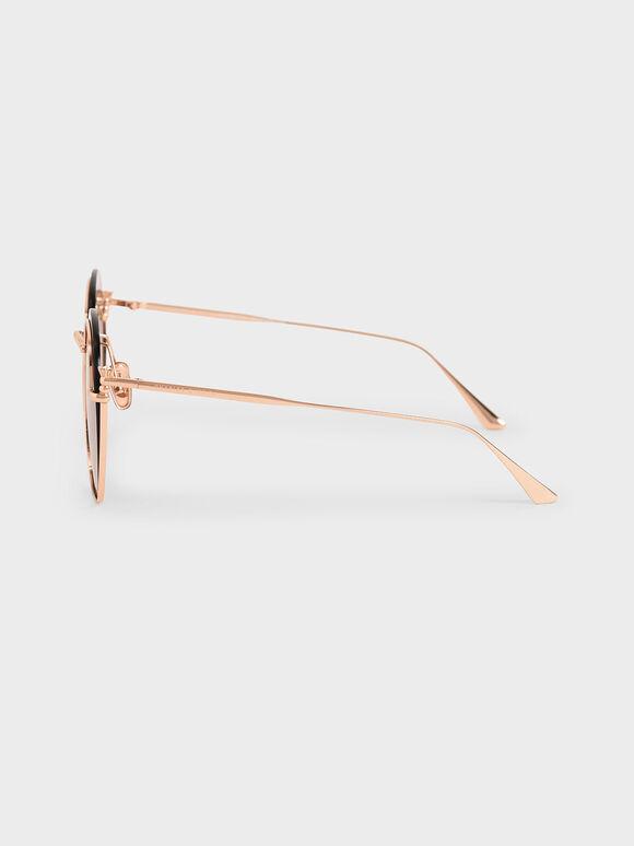 金屬透感墨鏡, 玫瑰金, hi-res