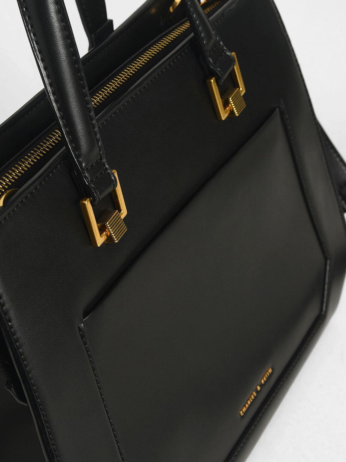 Structured Tote Bag, Black, hi-res