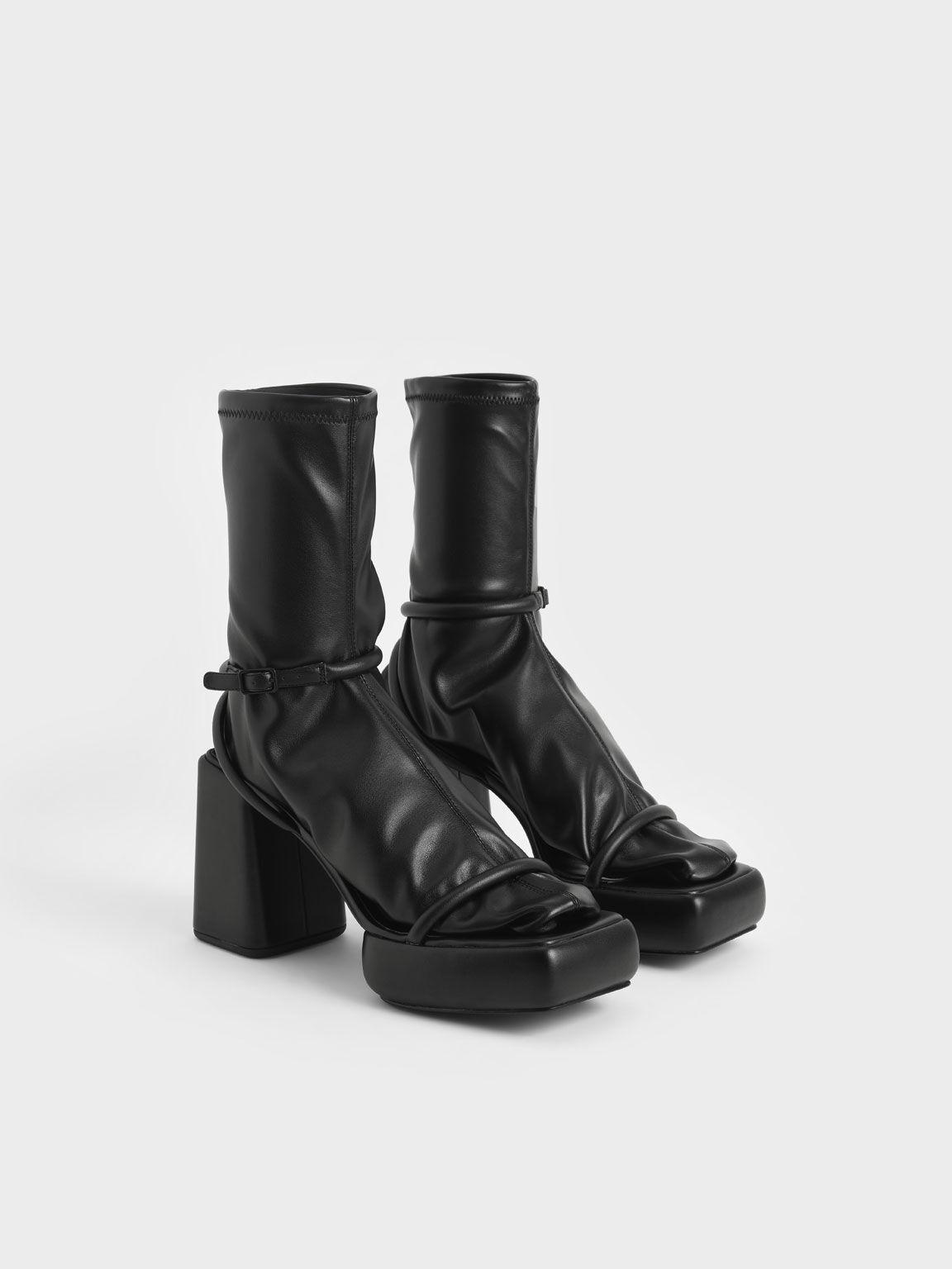 Lucile Platform Calf Boots, Black, hi-res