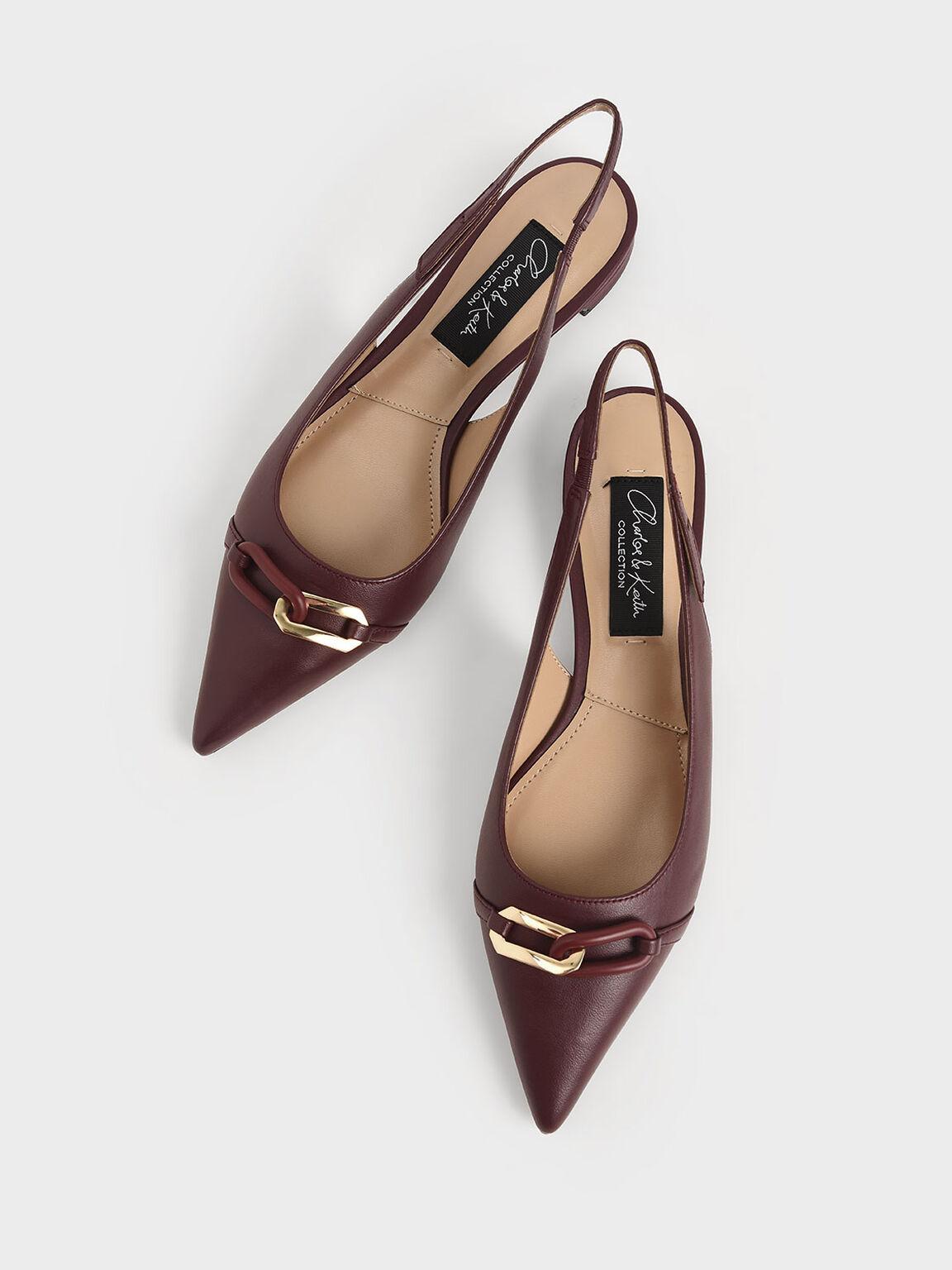 Embellished Leather Slingback Pumps, Burgundy, hi-res