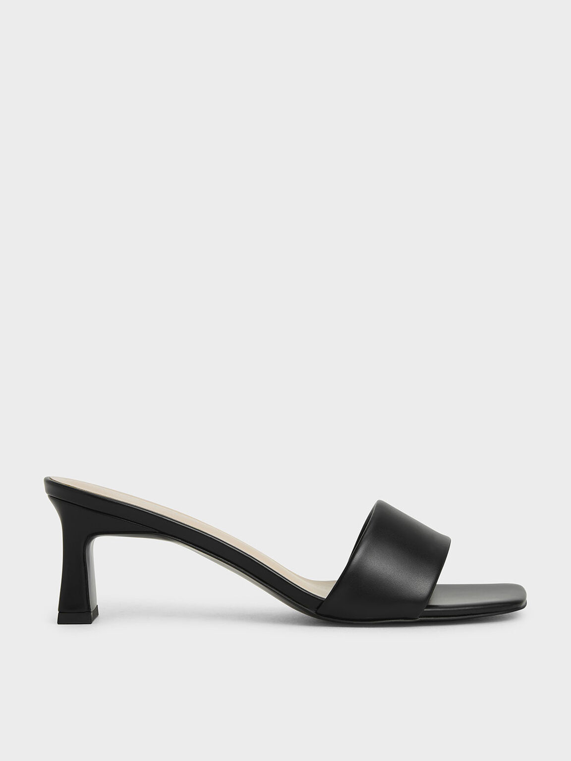 Open Square Toe Mules, Black, hi-res