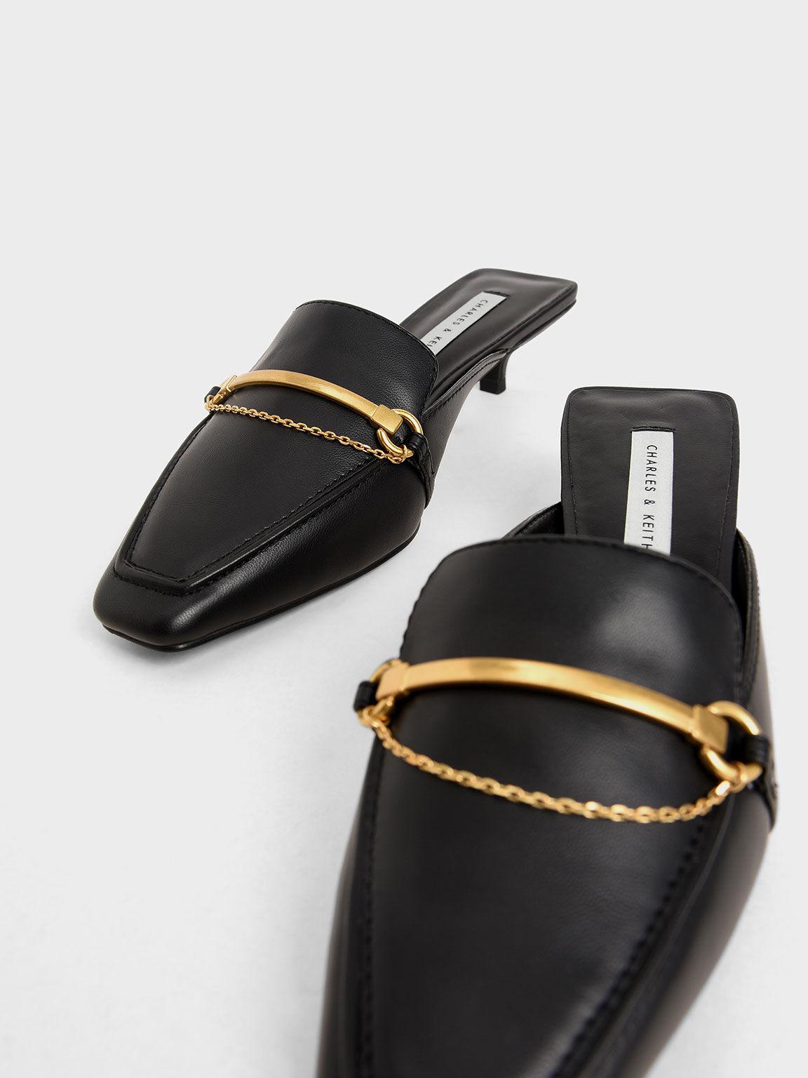 Metallic Accent Loafer Mules, Black, hi-res