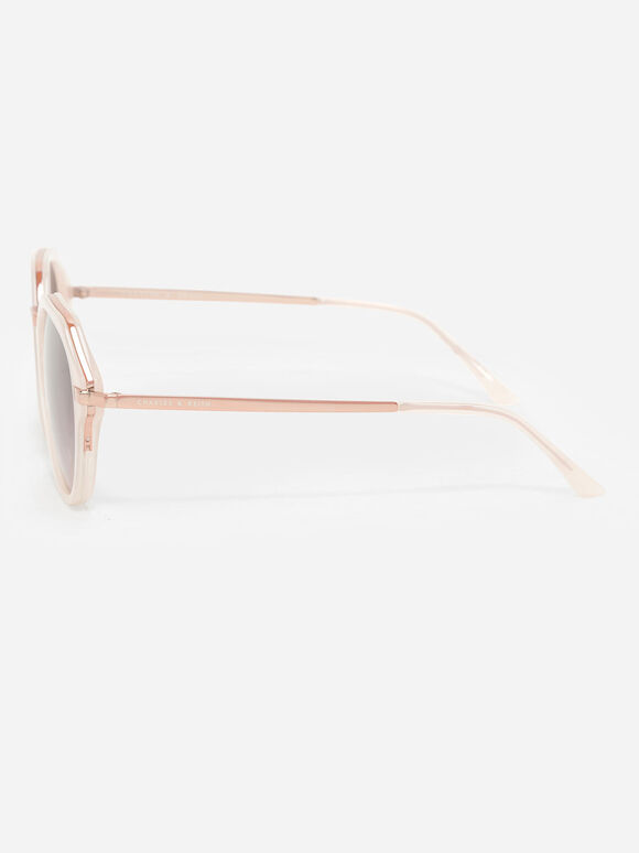 Angular Oval Sunglasses, Pink, hi-res