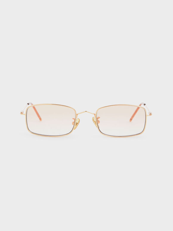 Rectangular Wireframe Sunglasses, Orange, hi-res