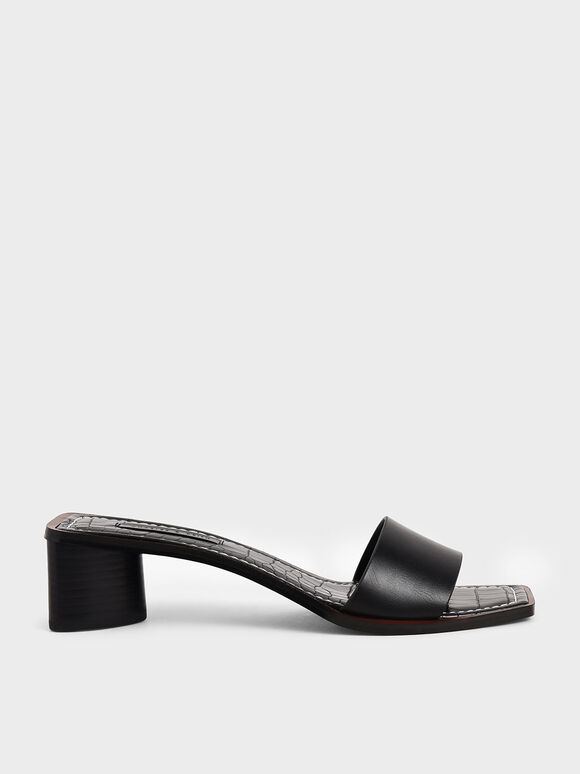 Croc-Effect Clear Strap Mules, Black, hi-res