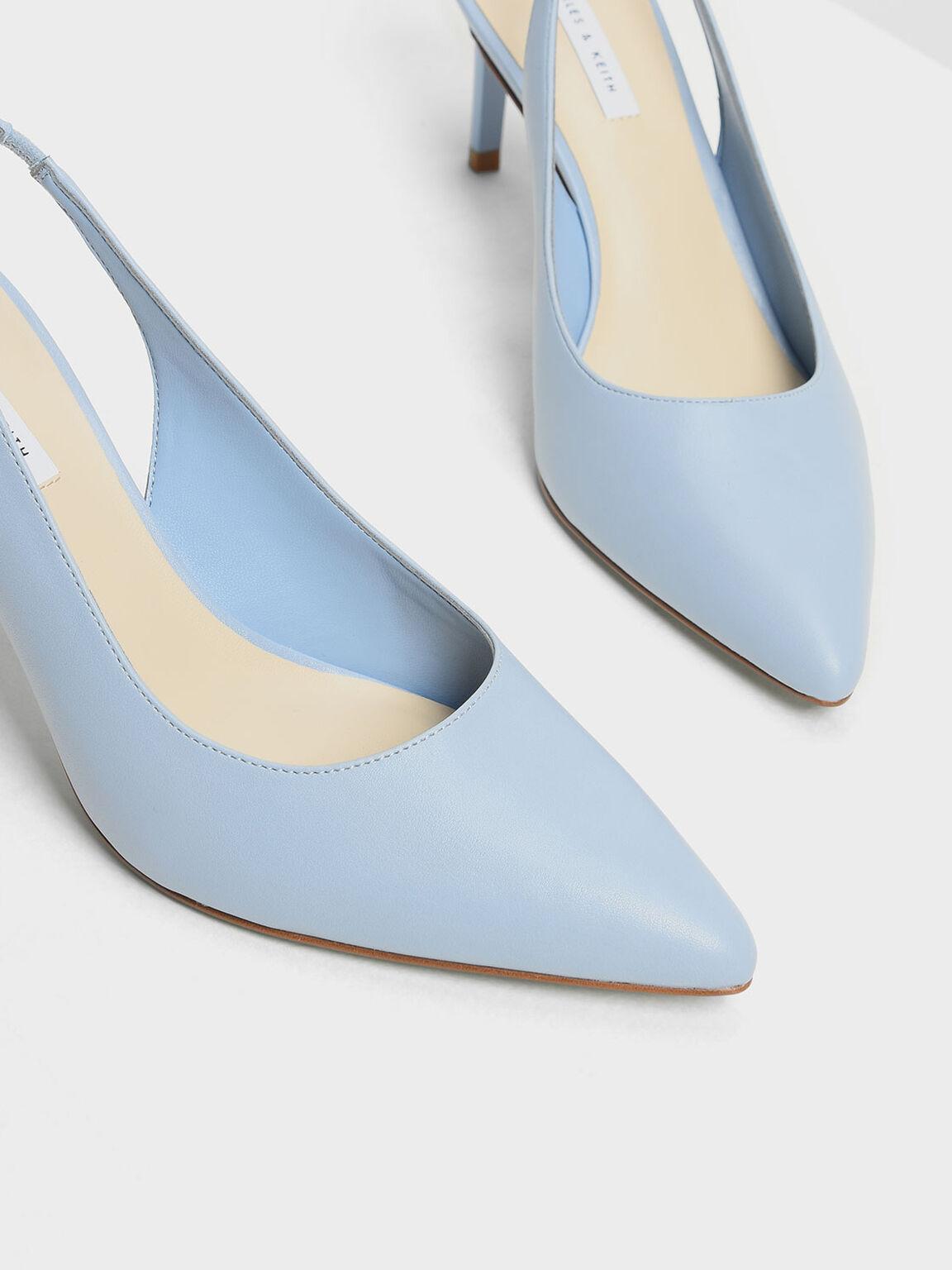Pointed Toe Slingbacks, Blue, hi-res