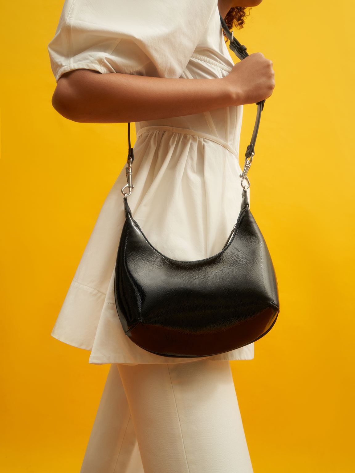 Beaded Handle Patent Hobo Bag, Black, hi-res